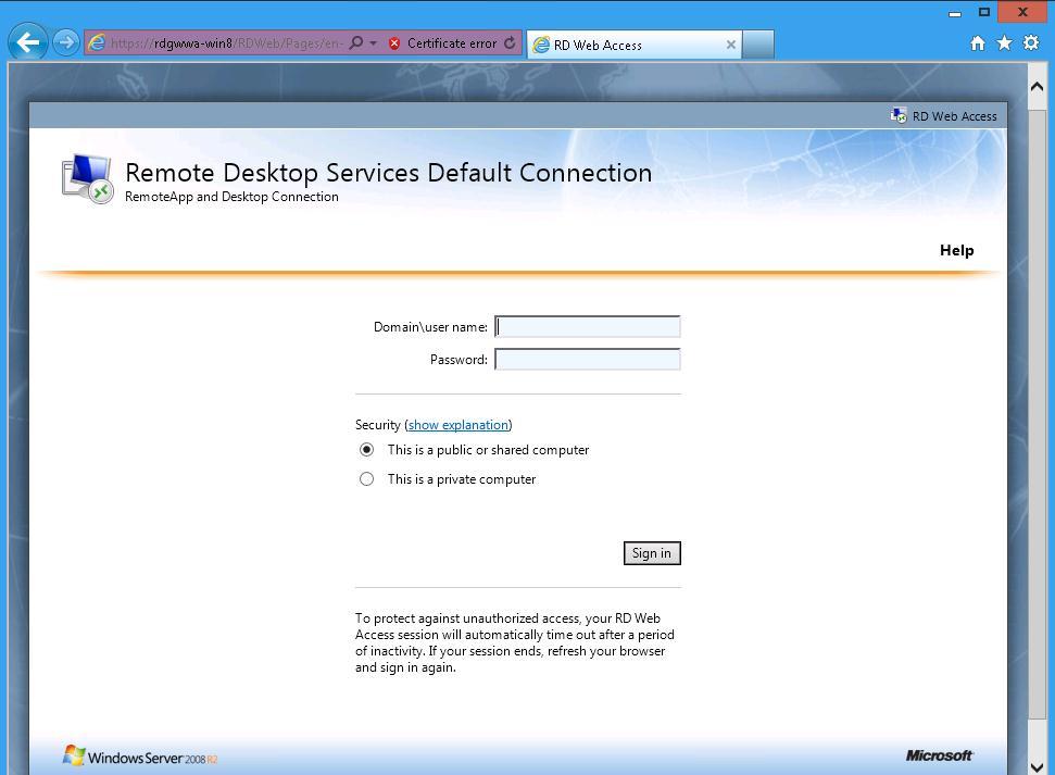 The Microsoft Platform Remote Desktop Web Access In Windows Server 8