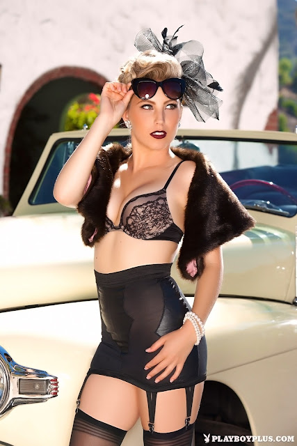 Playboy Cybergirl Chanel Elle and vintage car