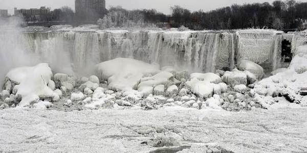 Foto Air Terjun Niagara membeku