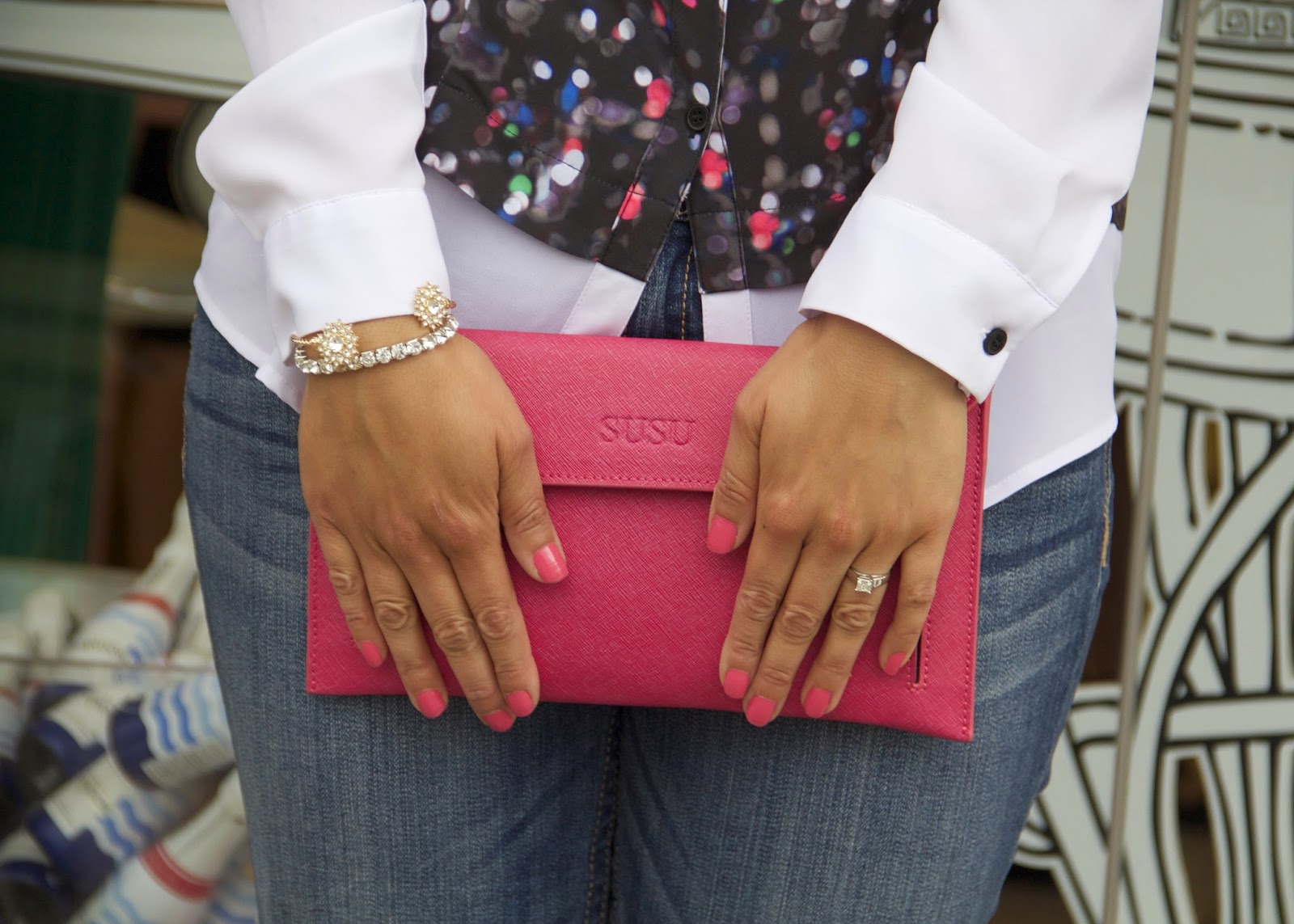 SUSU pink clutch, pink nails in San Diego, Charming Charlie sparkly bracelets