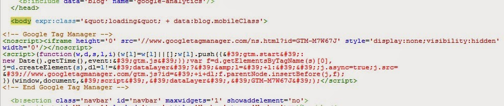 GTM container snippet in Blogger