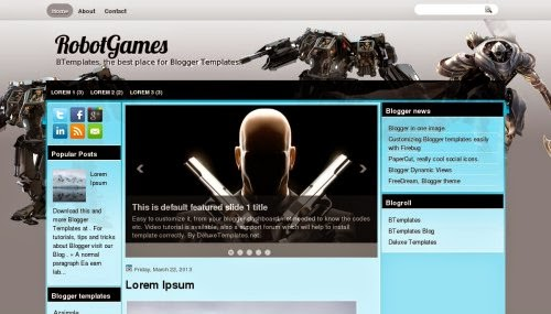 robotgames 3 column blogger template 2014 for blogger or blogspot
