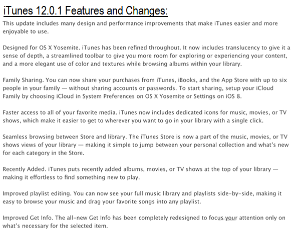 Apple iTunes 12.0.1 Features and Changes