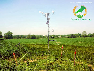 Weather monitoring device installed near an agricultural field