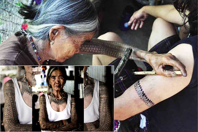 A 96-year-old Filipino tattoo artist who does tattoo in the traditional way! Incredible!