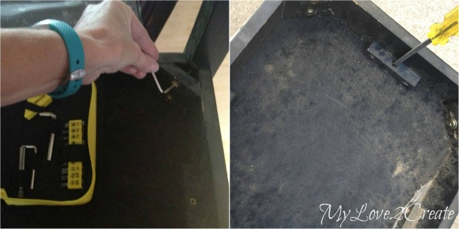 tighten legs and unscrew bench top