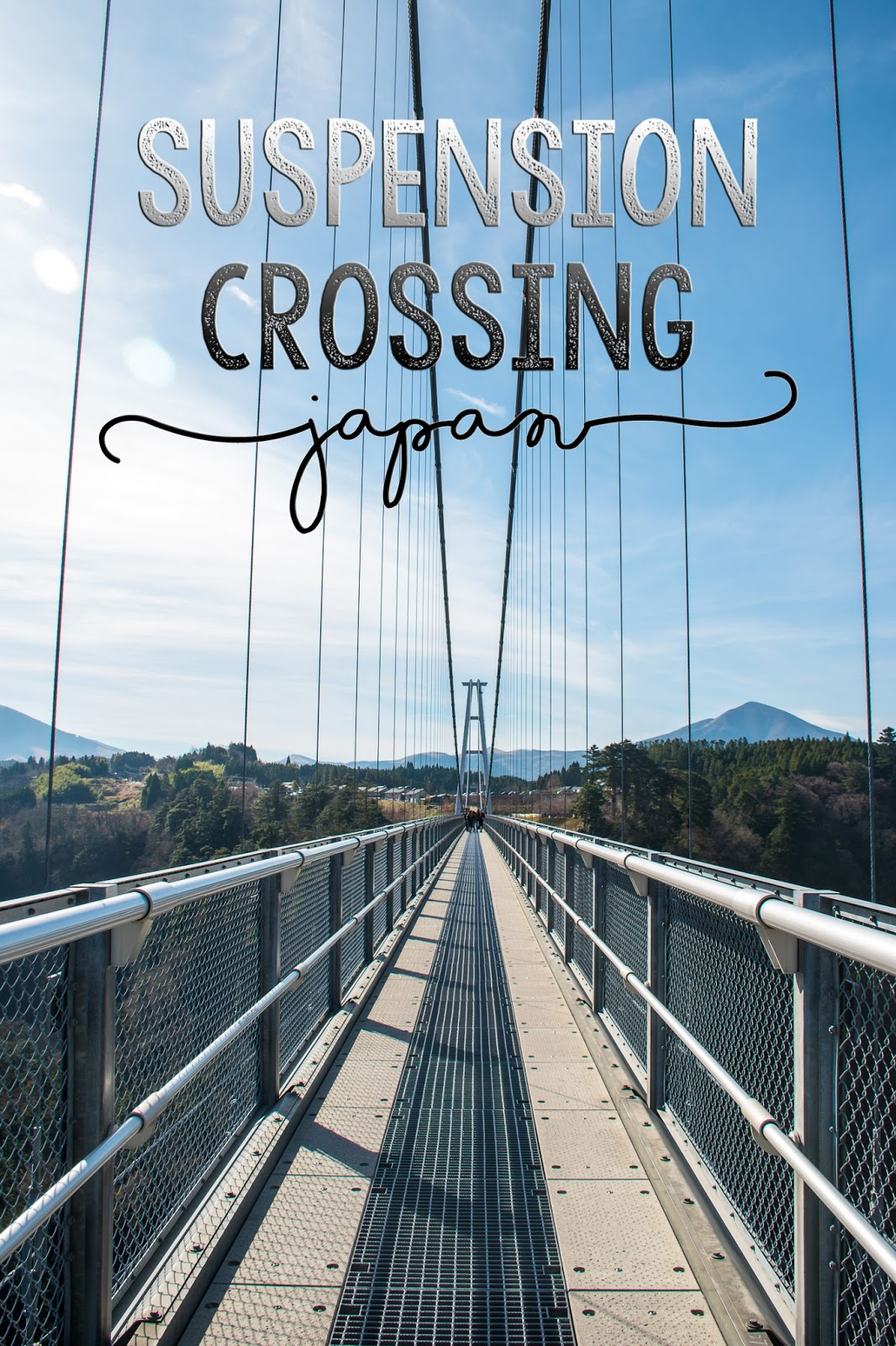 Crossing a suspension bridge in japan