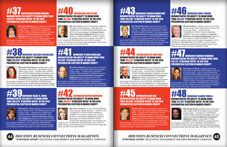 "PAGES 44 AND 45 - HOUSTON BUSINESS CONNECTIONS MAGAZINE© ""STRATEGIC VOTER"" MOBILIZATION PROJECT"