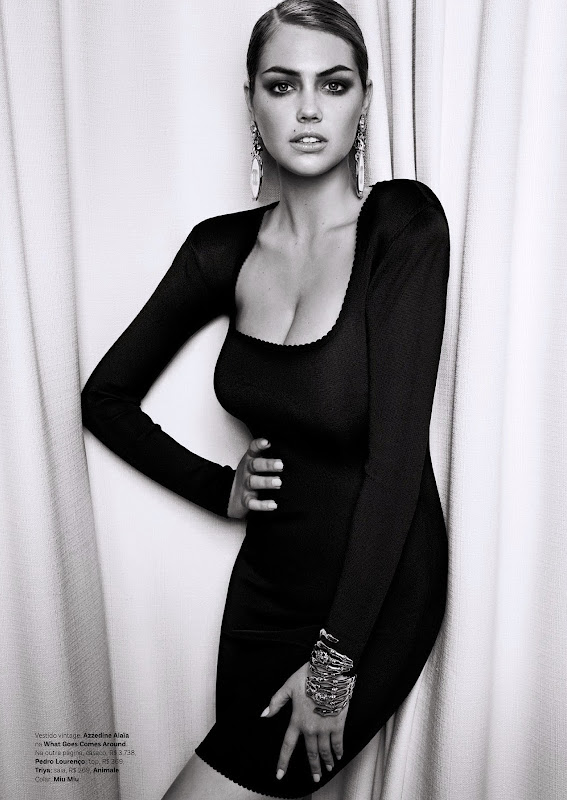 Kate Upton wearing a skin tight dress for Vogue Brazil July 2013