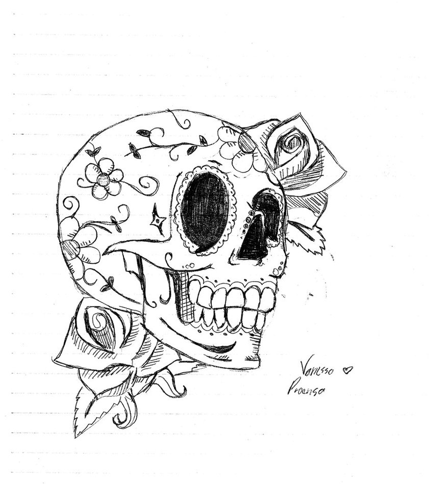 Desenho de Caveira mexicana com laco pintado e colorido por Bbbb o ...