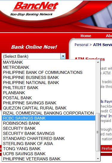 Selecting RCBC in BancNet