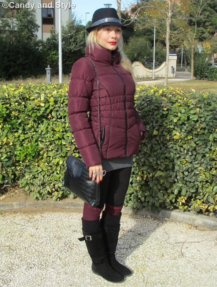 Burgundy Down Jacket - Hat - Knee-Highs - Boots