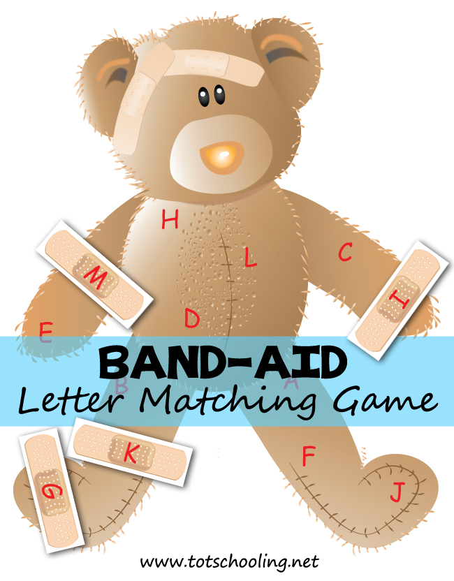 Band Aid Bear Alphabet Matching | Totschooling   Toddler