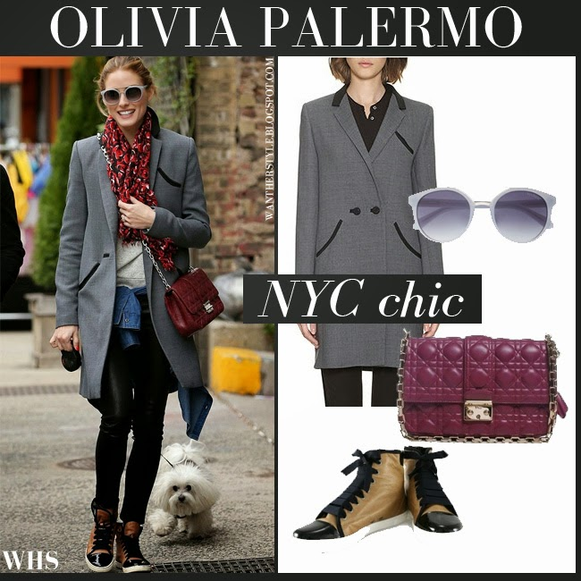 Olivia Palermo in grey Whistles coat, black leggings, brown Lanvin sneakers, burgundy Dior bag and grey Max and Co sunglasses want her style april 26 chic ny fashion