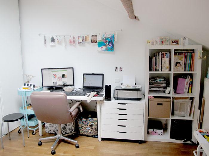 my not so white space home style une petite visite de mon studio. Black Bedroom Furniture Sets. Home Design Ideas