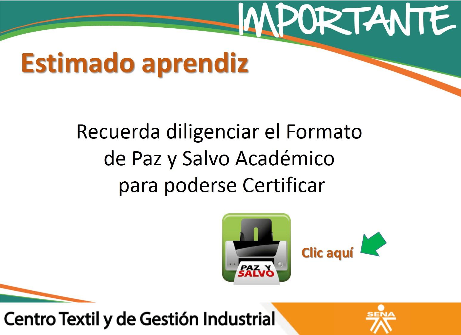 PAZ Y SALVO ACADEMICO PARA CERTIFICACION