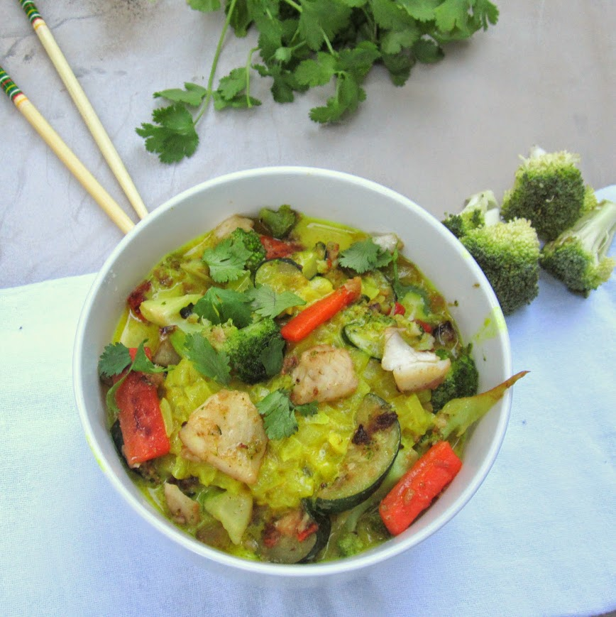 A fish curry, loaded with deliciously crisp vegetables, flavored with a coconut green curry broth