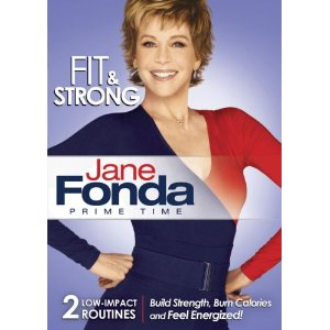 DVD cover shows Jane Fonda in a blue and red long-sleeve leotard with her fists on her hips, smiling broadly, looking very confident and fit. Colors of font and background are red, white, and blue.