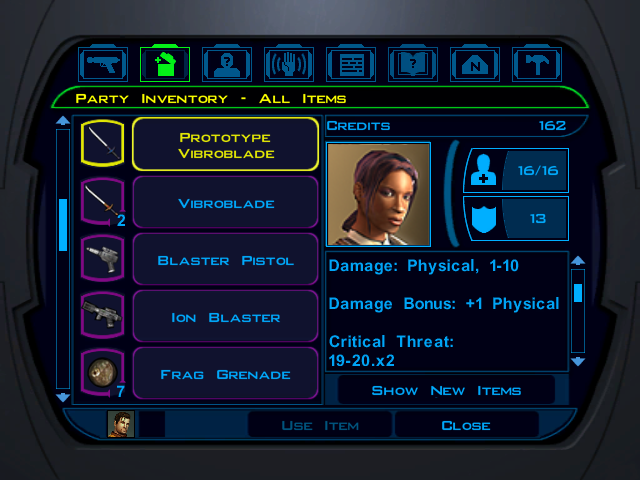 Knights of the Old Republic party inventory screen