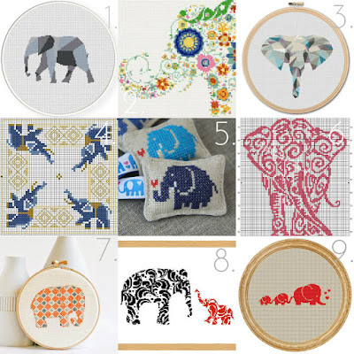 Cross stitch elephants college :: Embellished Elephant