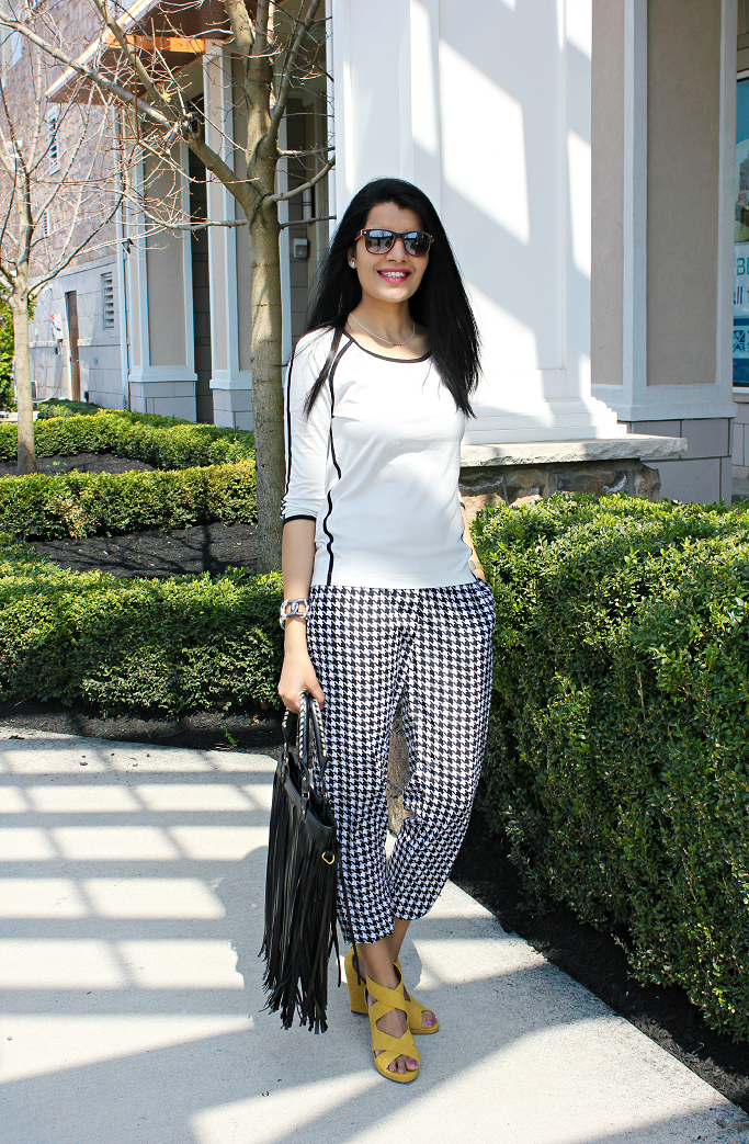 Express Piped Baseball Tee, Houndstooth Pants, Drawstring Pants, Fringe Tote Bag