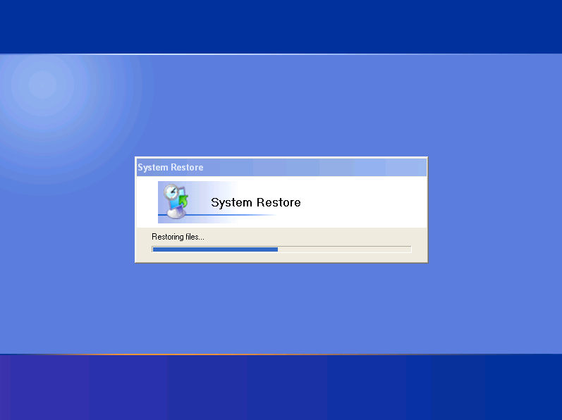 how to launch the System Restore program from the command line in Windows Vista, XP