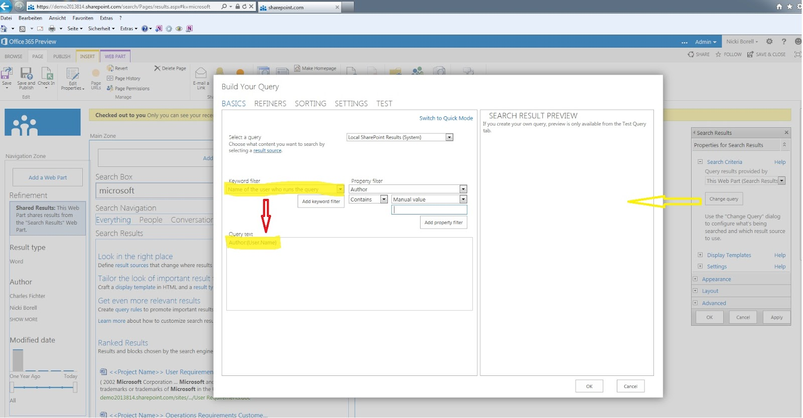 Sharepoint Talk Sharepoint 2013 Search Result Webpart Catches User Context