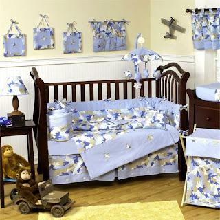 habitación celeste marrón bebé