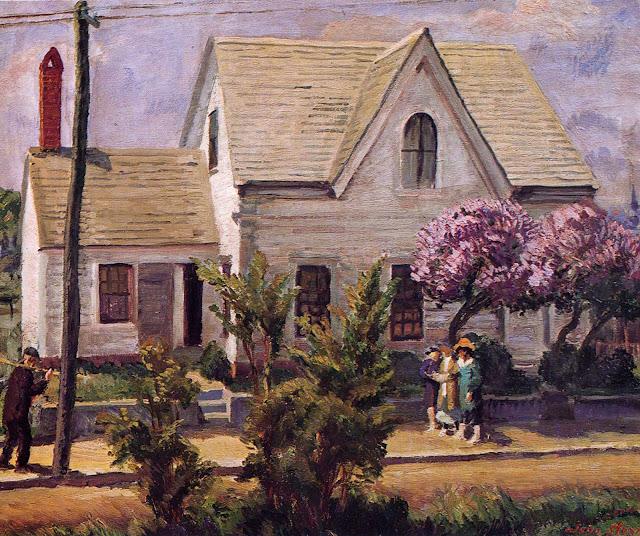 1918 Street, Lilacs, Noon Sun oil
