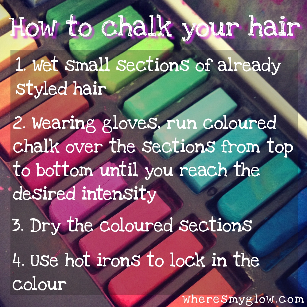 Wheres my glow how to use chalk to colour your hair as you can see from the pic i have heaps of vibrant colours in my chalk box and i cant wait to try them all out you can also use eyeshadow pigments solutioingenieria Gallery