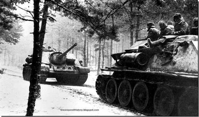 January 1945 Soviet tanks move into Prussia