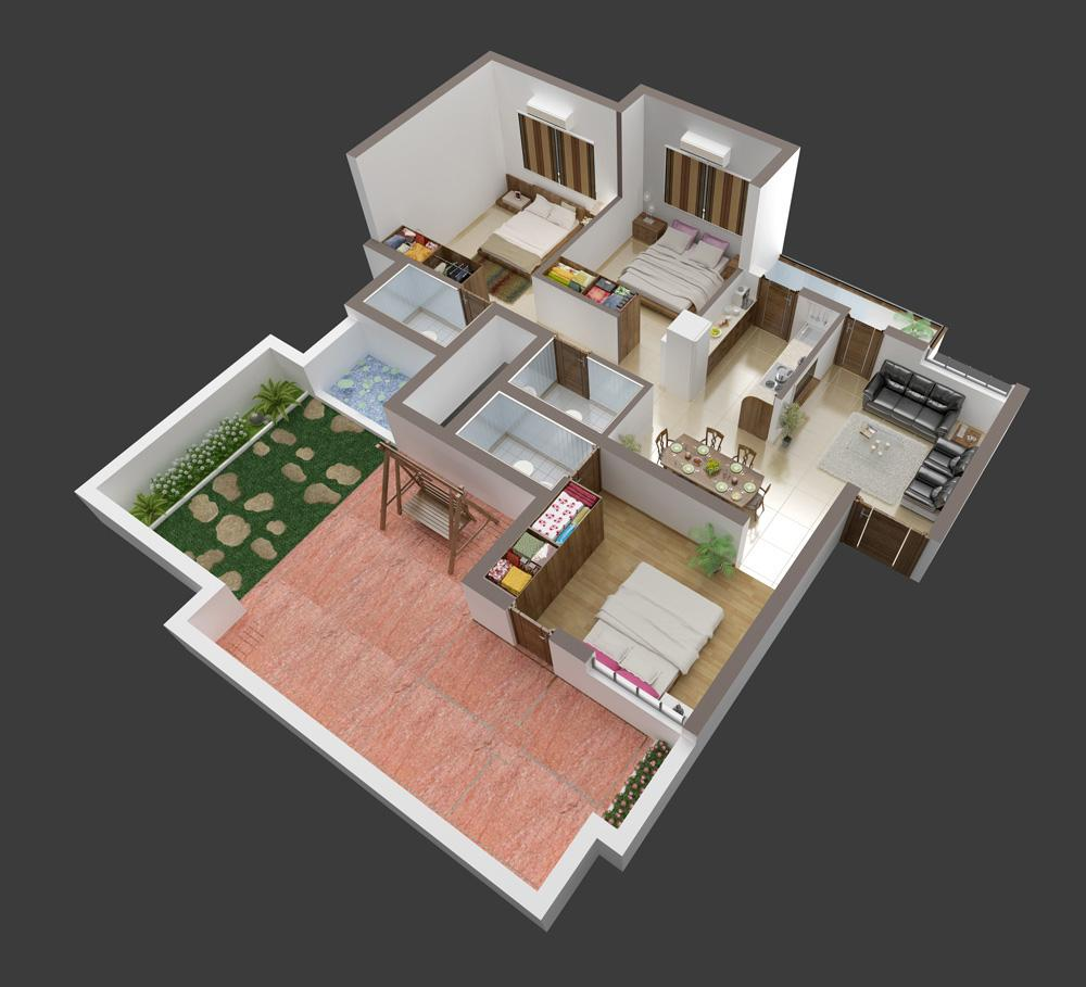 3d front 3d interior of house plan for 3d elevation house plan