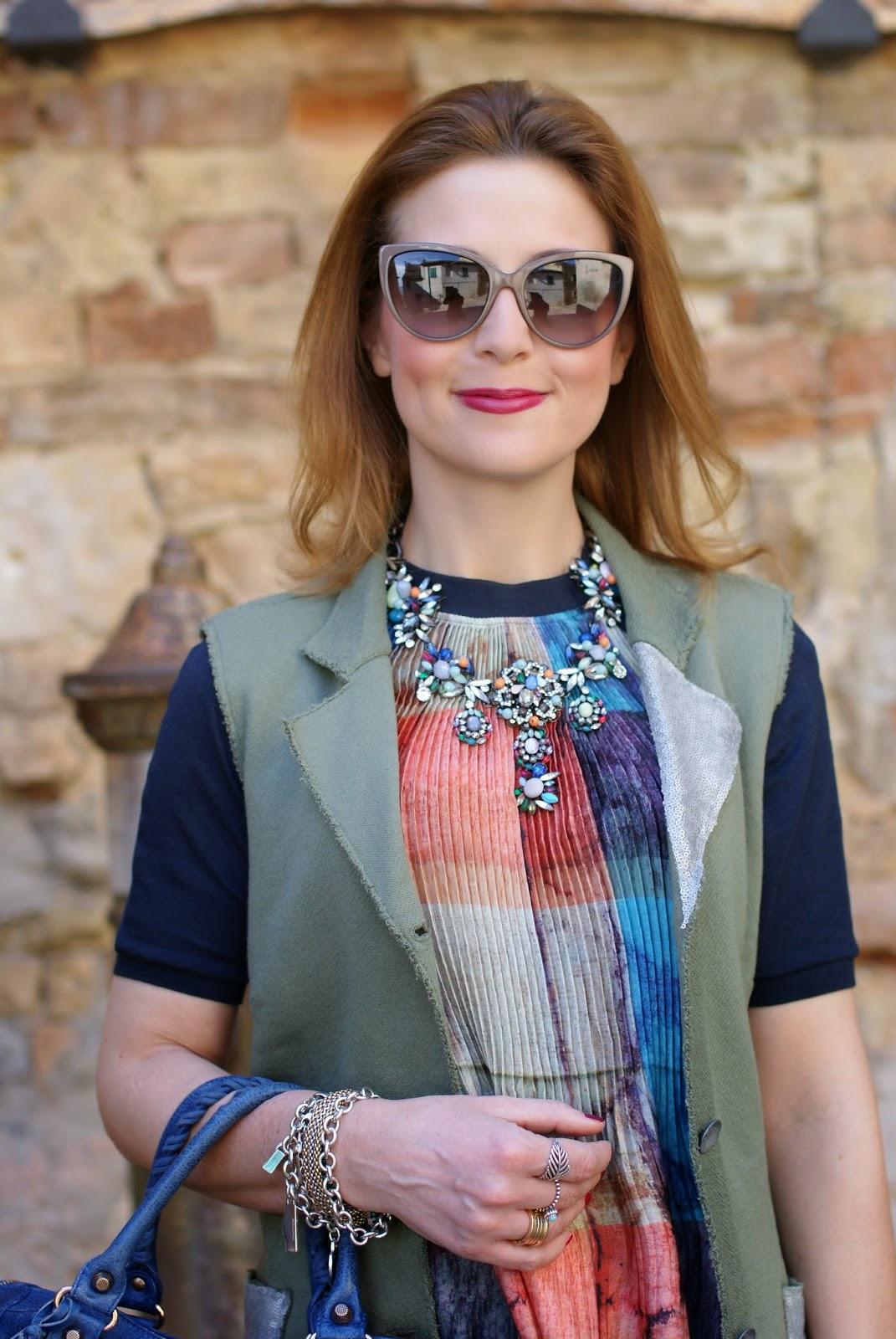 Zara statement necklace, Praio sleeveless jacket, Balenciaga City, Fashion and Cookies, fashion blogger