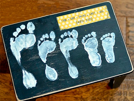 banco com pegada dos filhos, footprint, presente para a mae, dias das maes