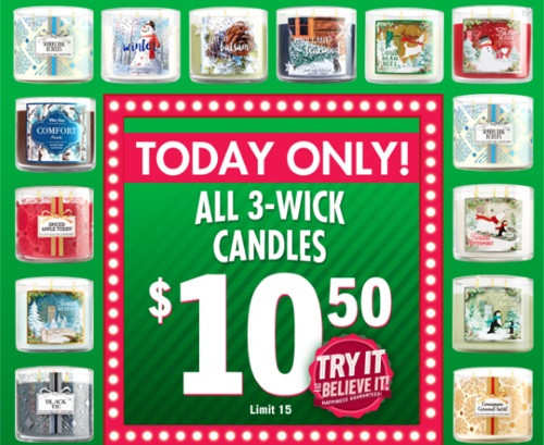 Bath & Body Works 3 Wick Candles Only $10.50 *Today Only*