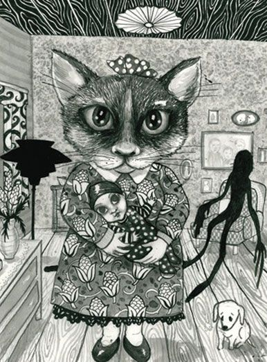 plakat i sort, hvid og grå af Julie Nord