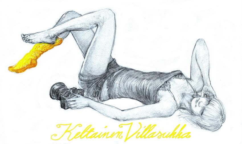 Keltainen villasukka .