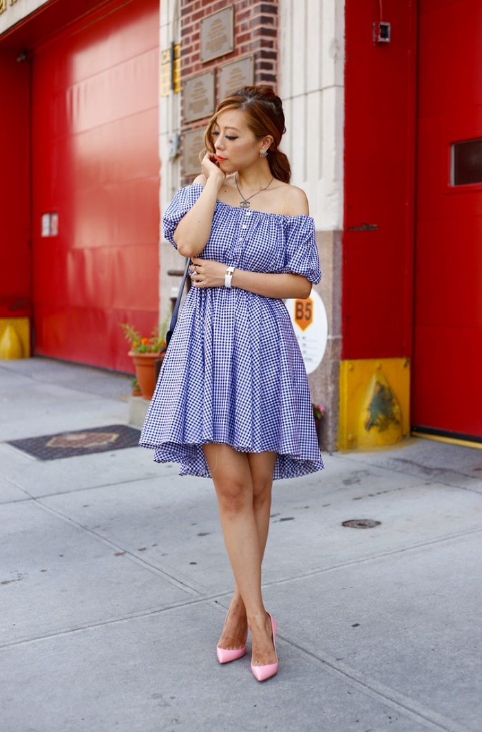 Caroline constas bardot off shoulder dress, gingham dress, christian louboutin so kate pumps, celine classique box bag, chanel necklace, hermes bag, kendra scott mystic bazaar, kendra scott ear jackets, kendra scott ring, nyc street style, fashion blog, summer trends