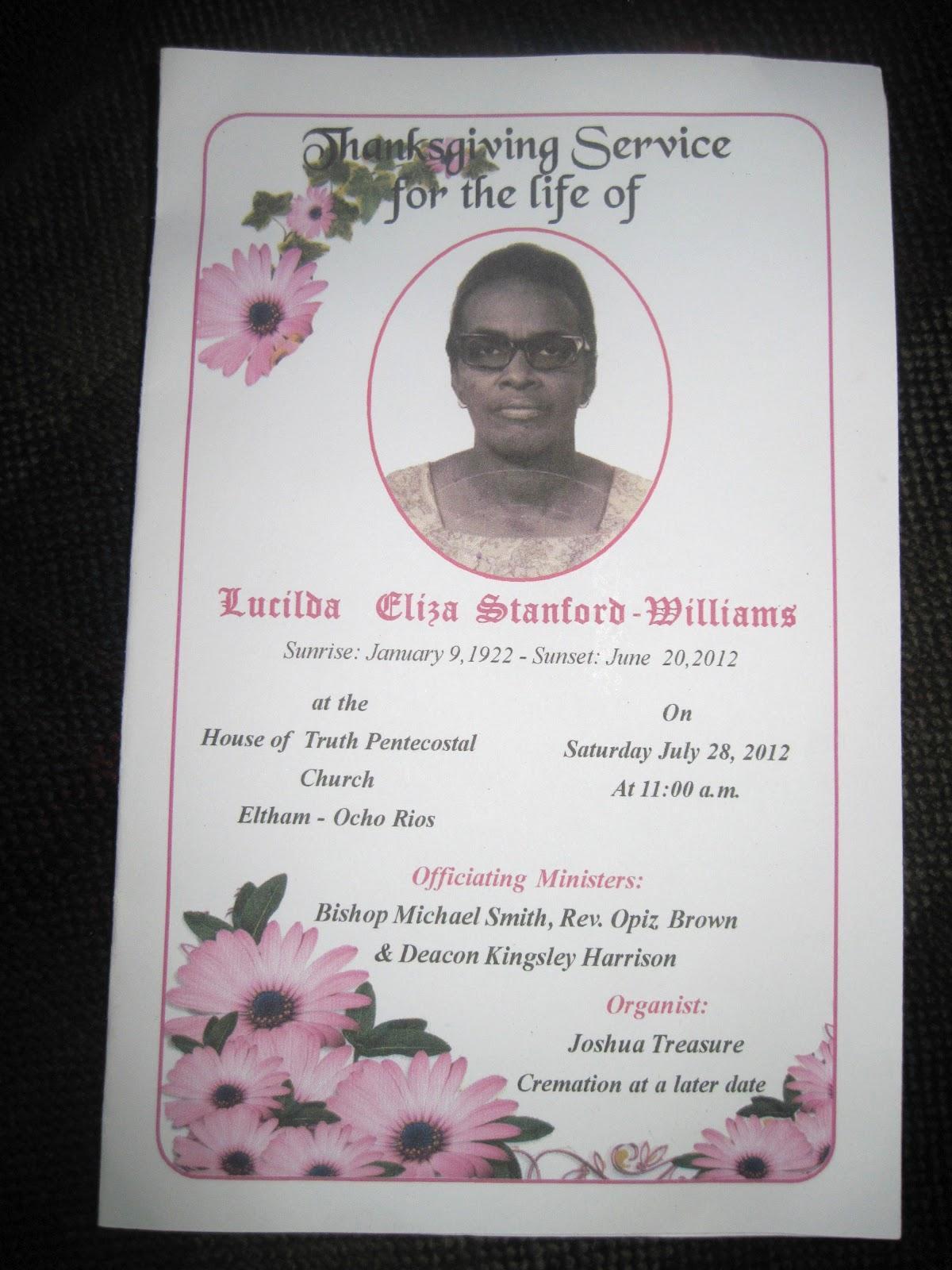 Smith U0026 39 S Jamaican Mission  Funeral Program