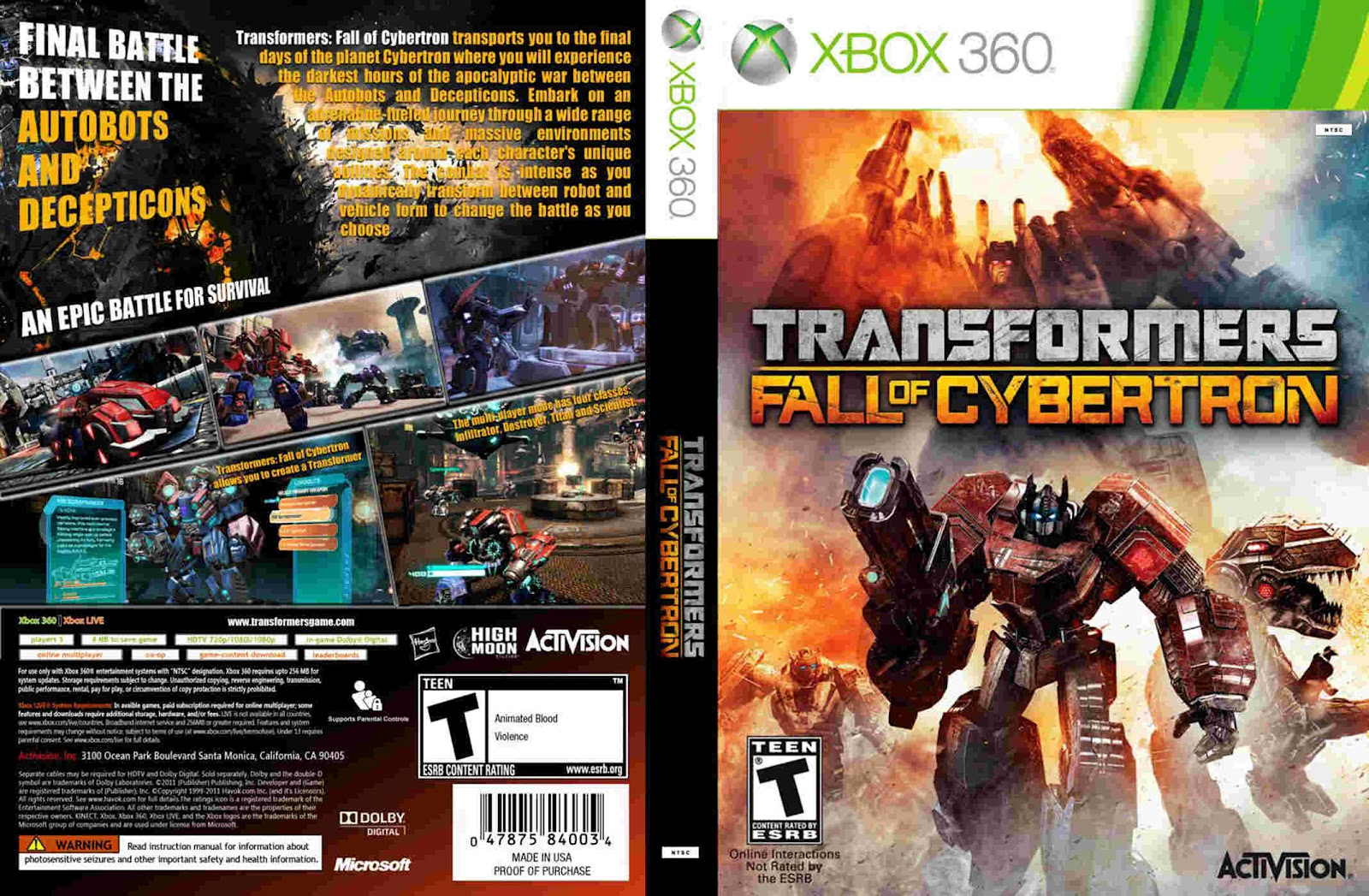 Xbox 360 Transformers Fall of Cybertron of Cybertron / Xbox 360