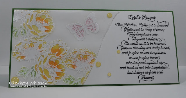 Elizabeth Whisson, Alshandra, Lord's Prayer, Christian, scripture, handmade card, Fragrance, Trois Jolies Papillons, Copic, vellum, leafy edged borders, enamel dots