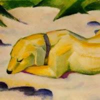 'Gos estirat a la neu (Franz Marc)'
