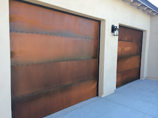 rusted look garage doors