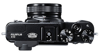 Top view of the Fuji X10 camera. Photo courtesy of Fujifilm.com