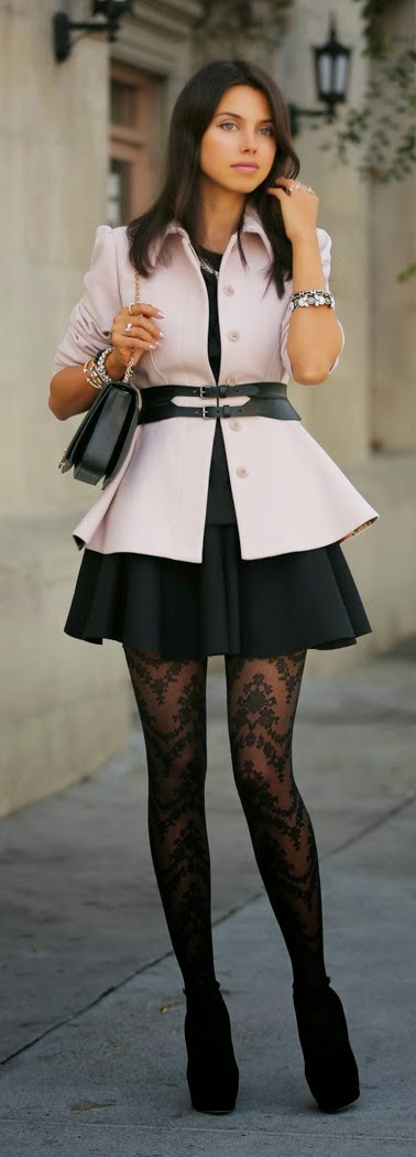 Pink Peplum Coat with Floral Garland-patterned Sheers legging | Chic Outfits