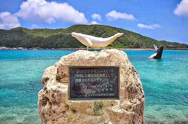 whale statues, Zamami-jima, port
