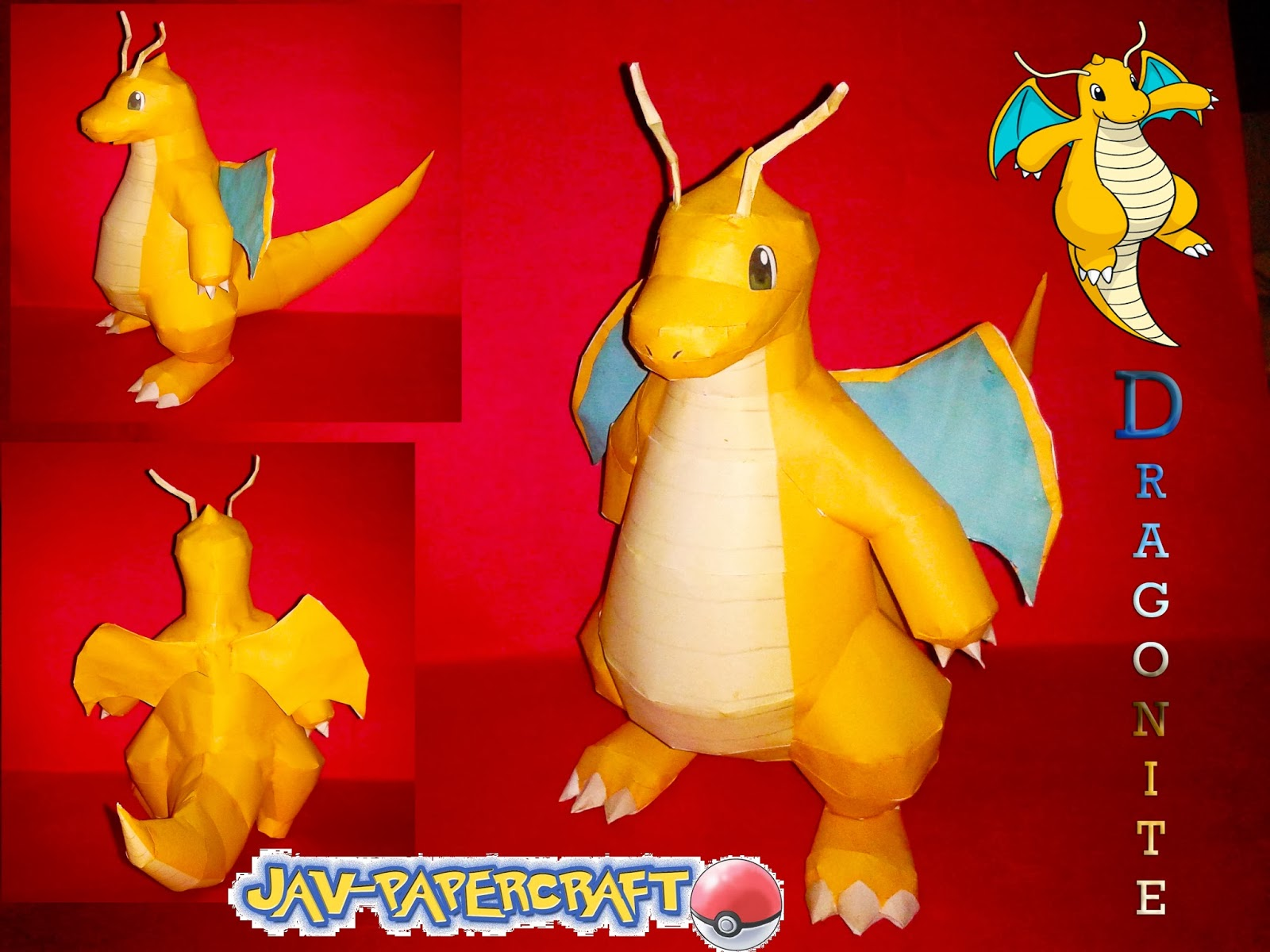 Pokemon Dragonite Paper Model