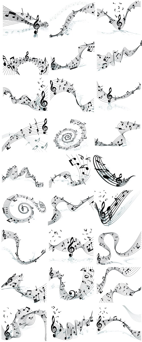 musicales y pentagrama en vector (Music Score and notes in vector