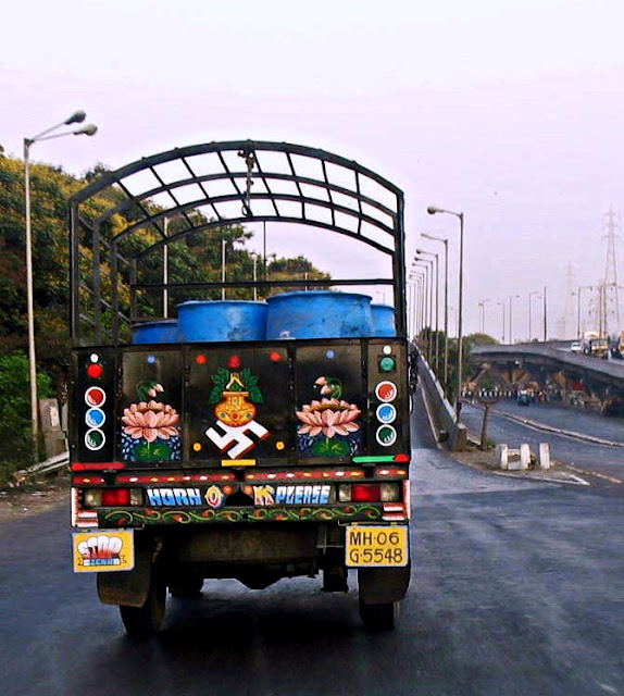 religious painting on back of truck