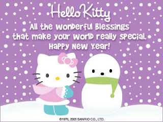 Gambar Ucapan Tahun Baru Hello Kitty Ungu Happy New Year 2016